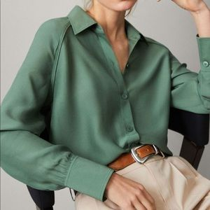 Massimo Dutti Forest Relax Green Shirt with Piping